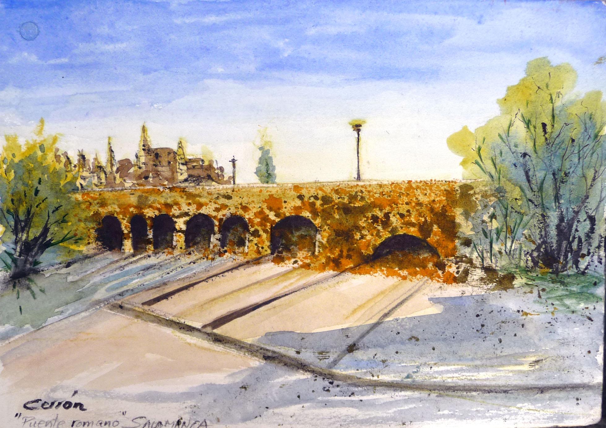 Acuarela puente Salamanca