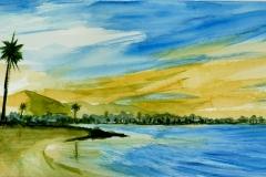 Acuarela playa Alcudia